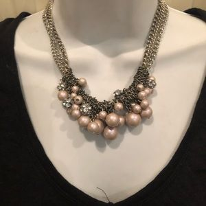 Pink and silver sparkly necklace